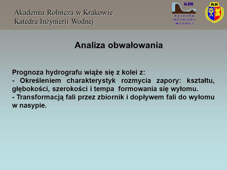 Akademia Rolnicza w Krakowie Katedra Inżynierii Wodnej Prognoza hydrografu wiąże się z kolei z: - Określeniem charakterystyk rozmycia zapory: kształtu