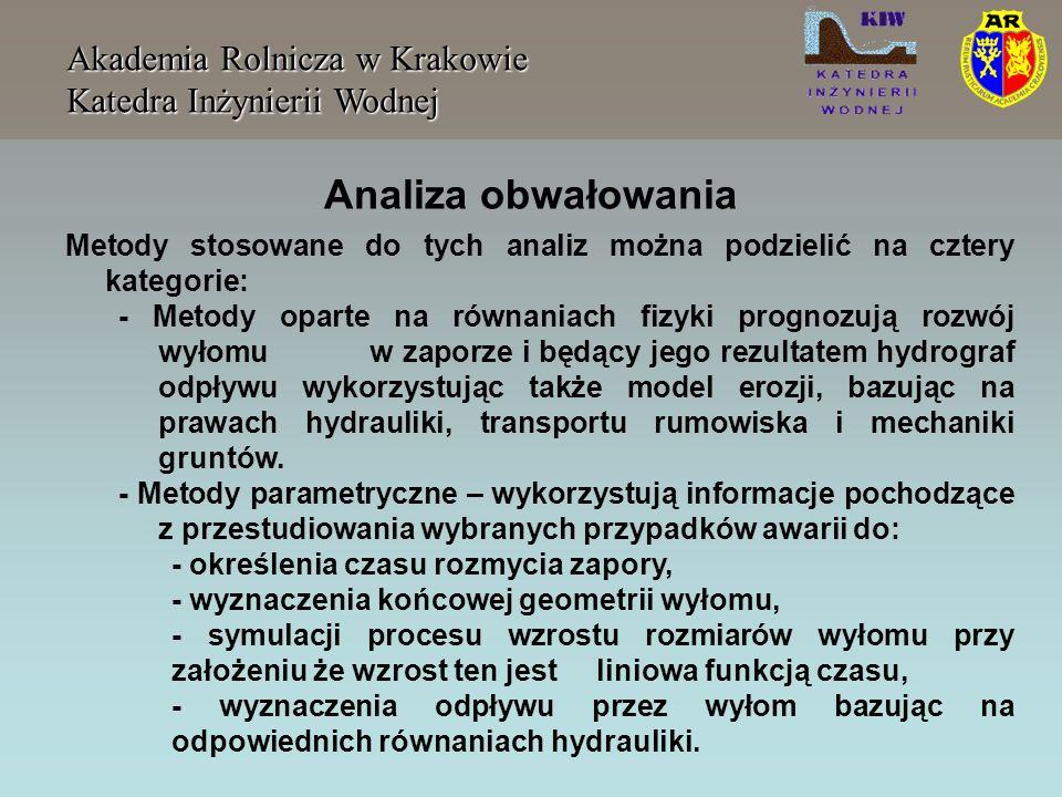 Akademia Rolnicza w Krakowie Katedra Inżynierii Wodnej Metody stosowane do tych analiz można podzielić na cztery kategorie: - Metody oparte na równani