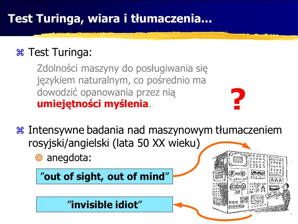 Test Turinga, wiara i tłumaczenia... Test Turinga: Intensywne badania nad maszynowym tłumaczeniem rosyjski/angielski (lata 50 XX wieku) anegdota: Zdol