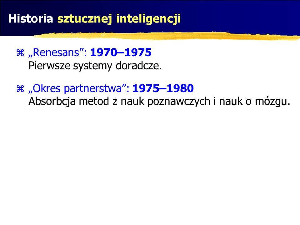 Historia sztucznej inteligencji Renesans: 1970–1975 Pierwsze systemy doradcze. Okres partnerstwa: 1975–1980 Absorbcja metod z nauk poznawczych i nauk