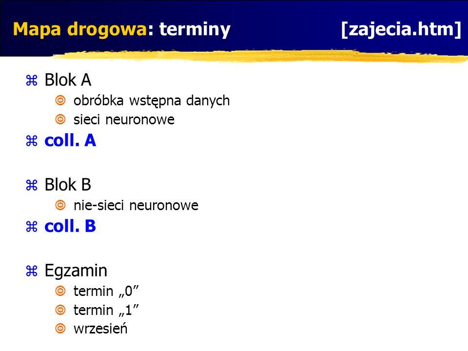 Mapa drogowa: terminy [zajecia.htm] Blok A obróbka wstępna danych sieci neuronowe coll. A Blok B nie-sieci neuronowe coll. B Egzamin termin 0 termin 1