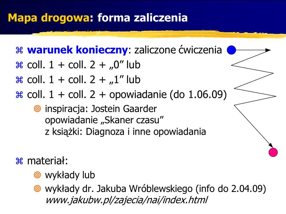 Mapa drogowa: forma zaliczenia warunek konieczny: zaliczone ćwiczenia coll. 1 + coll. 2 + 0 lub coll. 1 + coll. 2 + 1 lub coll. 1 + coll. 2 + opowiada