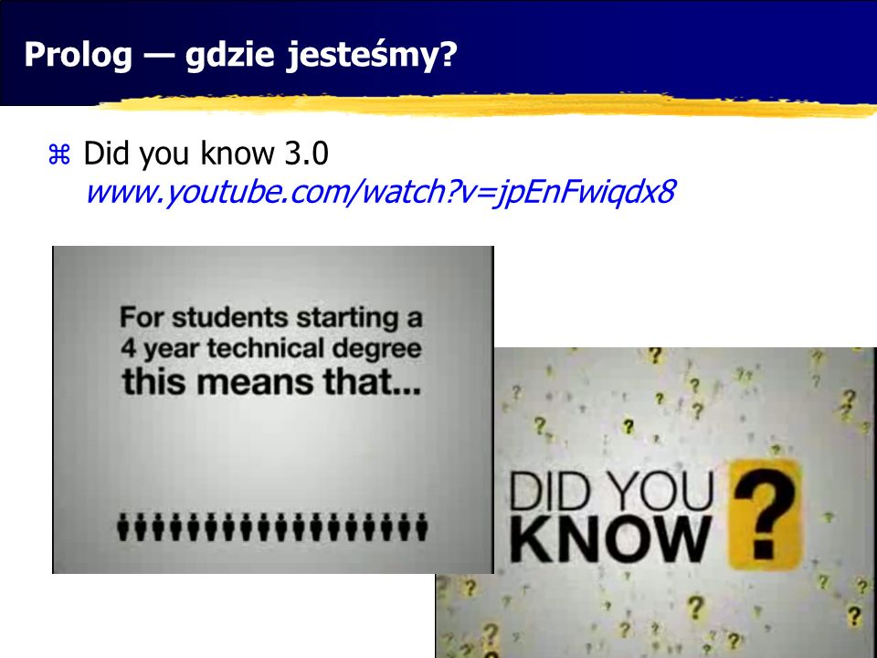 Prolog gdzie jesteśmy? Did you know 3.0 www.youtube.com/watch?v=jpEnFwiqdx8