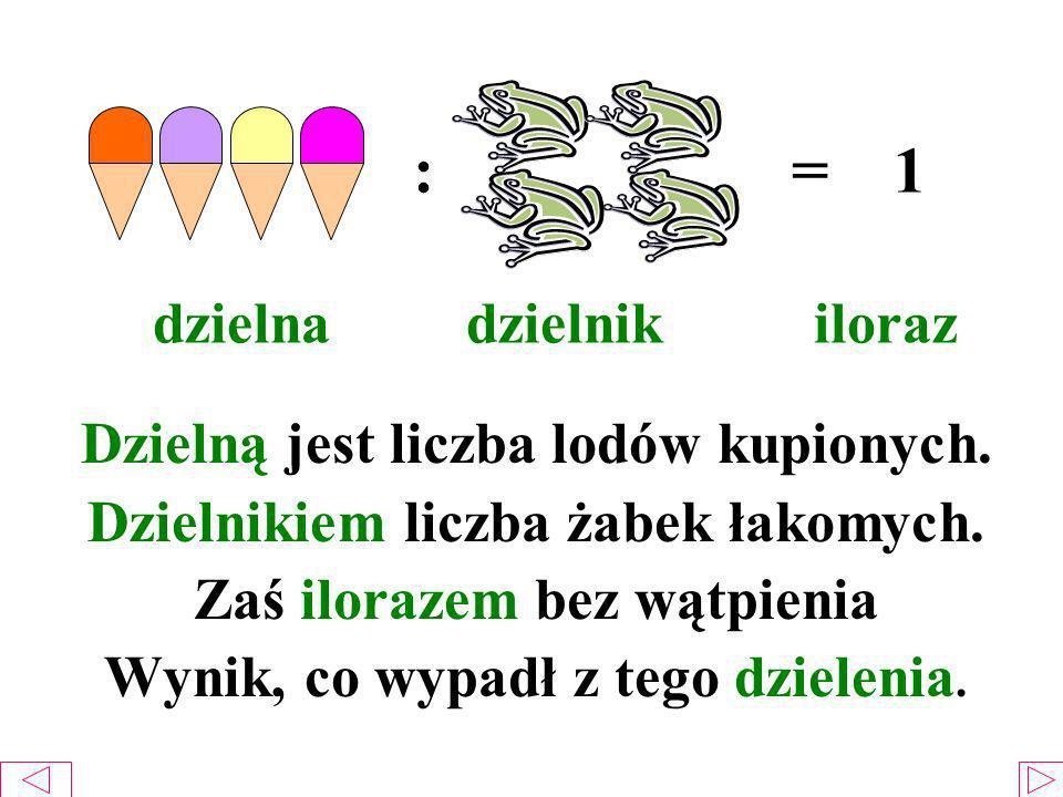 : = 1 dzielna dzielnik iloraz Dzielną jest liczba lodów kupionych. Dzielnikiem liczba żabek łakomych. Zaś ilorazem bez wątpienia Wynik, co wypadł z te