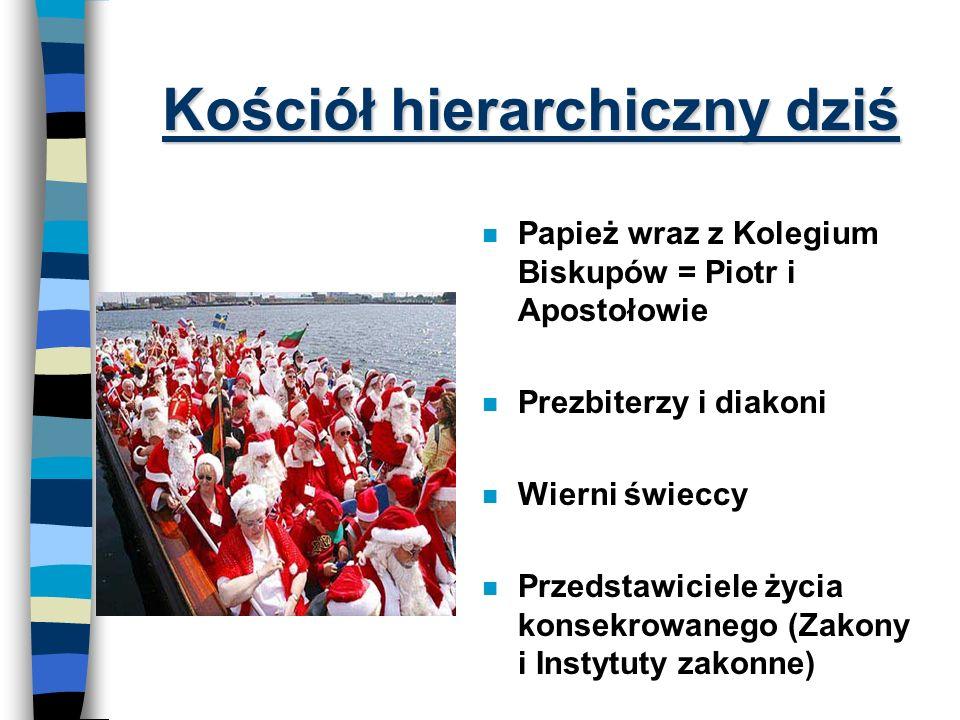 Hierarchiczna struktura Kościoła Wspólnota Jezusa też podlegała hierarchii: Ê Apostołowie (12) - por. Mk 3, 13-19 · Inni uczniowie (72) - por. Łk 10,