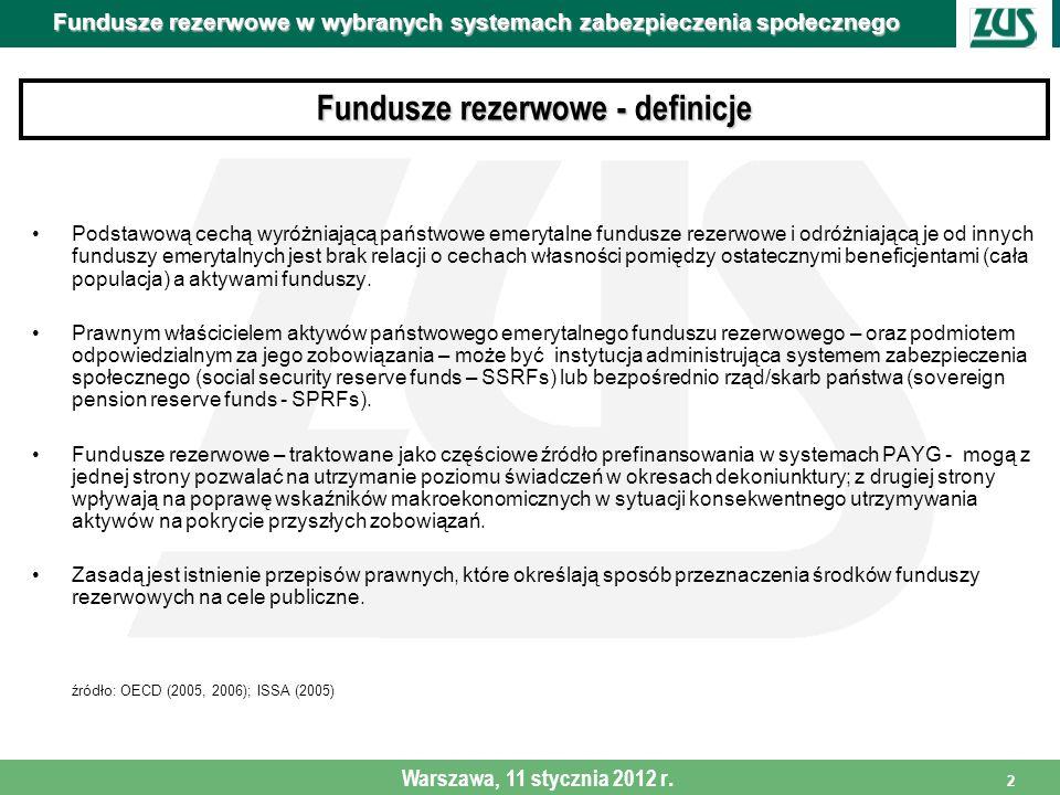 3 Fundusze rezerwowe w wybranych systemach zabezpieczenia społecznego Warszawa, 11 stycznia 2012 r.