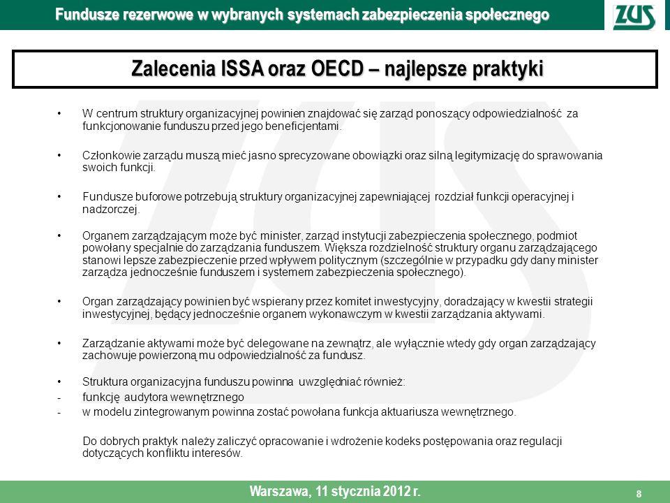 9 Polityka Inwestycyjna funduszy Fundusze rezerwowe w wybranych systemach zabezpieczenia społecznego Warszawa, 11 stycznia 2012 r.