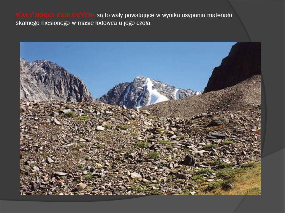 WA Ł Y MOREN CZO Ł OWYCH- są to wały powstające w wyniku usypania materiału skalnego niesionego w masie lodowca u jego czoła.