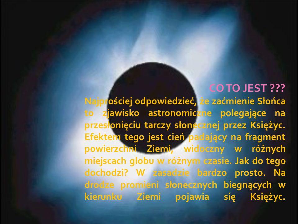 CO TO JEST ??? Najprościej odpowiedzieć, że zaćmienie Słońca to zjawisko astronomiczne polegające na przesłonięciu tarczy słonecznej przez Księżyc. Ef