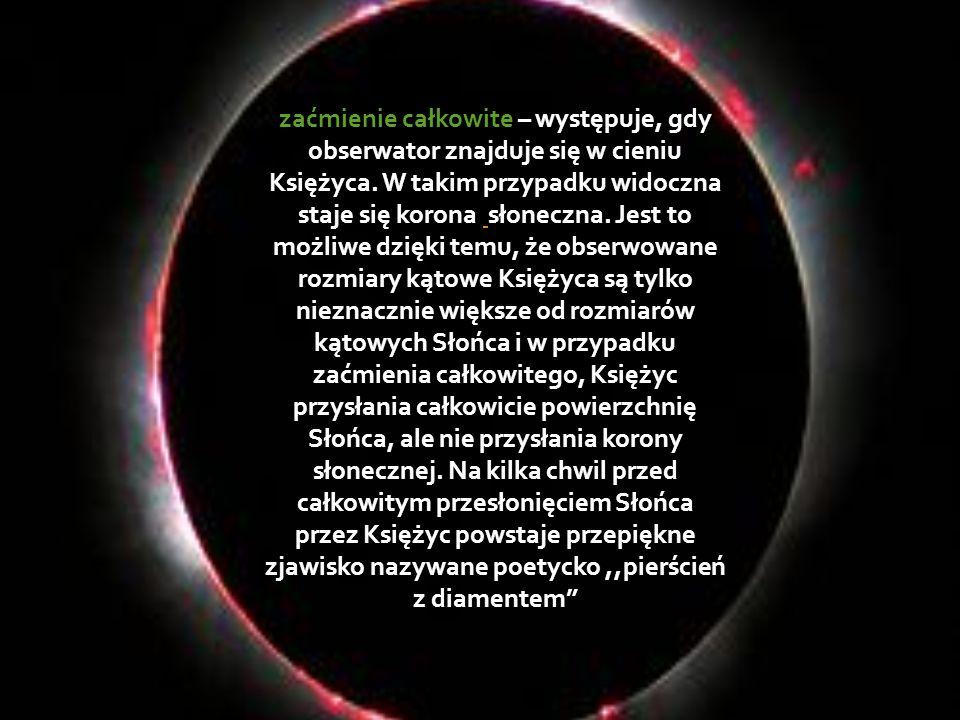 zaćmienie całkowite – występuje, gdy obserwator znajduje się w cieniu Księżyca. W takim przypadku widoczna staje się korona słoneczna. Jest to możliwe
