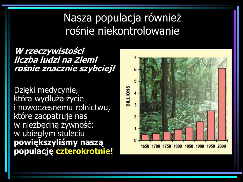 Nasza populacja również rośnie niekontrolowanie W rzeczywistości liczba ludzi na Ziemi rośnie znacznie szybciej! Dzięki medycynie, która wydłuża życie