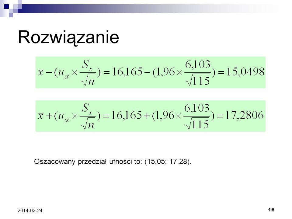 16 2014-02-24 Rozwiązanie Oszacowany przedział ufności to: (15,05; 17,28).