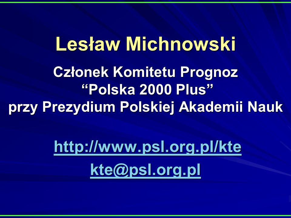 Lesław Michnowski Członek Komitetu Prognoz Polska 2000 Plus przy Prezydium Polskiej Akademii Nauk http://www.psl.org.pl/kte kte@psl.org.pl http://www.psl.org.pl/kte kte@psl.org.pl http://www.psl.org.pl/kte kte@psl.org.pl