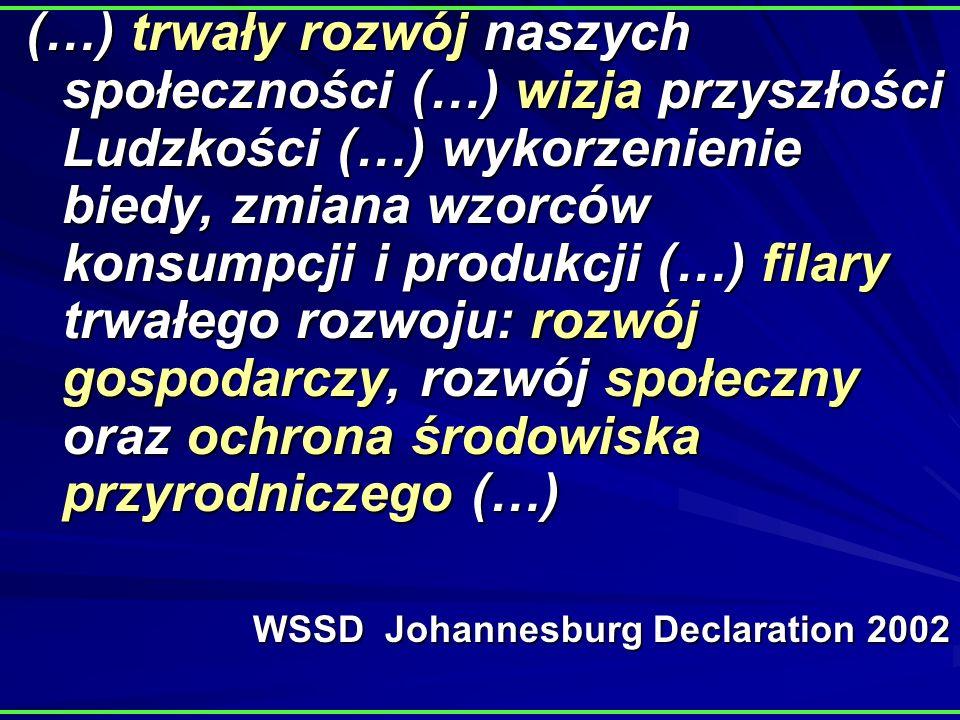(…) trwały rozwój naszych społeczności (…) wizja przyszłości Ludzkości (…) wykorzenienie biedy, zmiana wzorców konsumpcji i produkcji (…) filary trwałego rozwoju: rozwój gospodarczy, rozwój społeczny oraz ochrona środowiska przyrodniczego (…) WSSD Johannesburg Declaration 2002