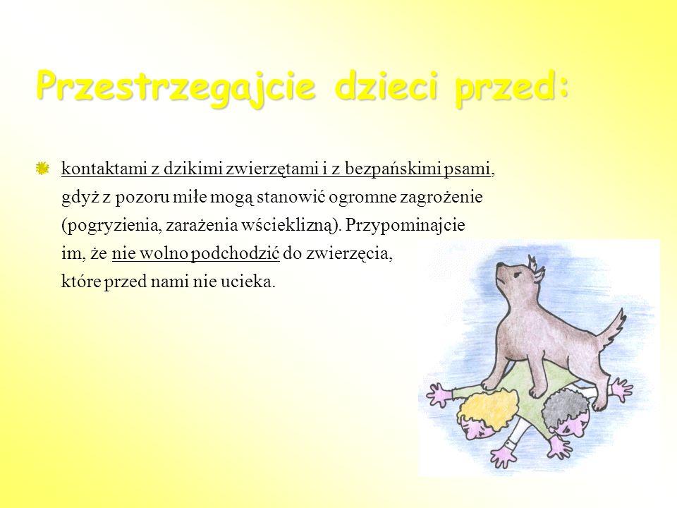 Przestrzegajcie dzieci przed: kontaktami z dzikimi zwierzętami i z bezpańskimi psami, gdyż z pozoru miłe mogą stanowić ogromne zagrożenie (pogryzienia