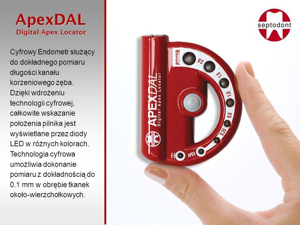 ApexDAL Digital Apex Locator Digital Apex Locator W momencie, kiedy pilnik osiągnie położenie oznaczone jako 0.5 mm zostaje uruchomiony sygnał dźwiękowy zmieniający natężenie głośności i jego częstotliwość wraz ze zbliżaniem się pilnika do otworu wierzchołkowego.