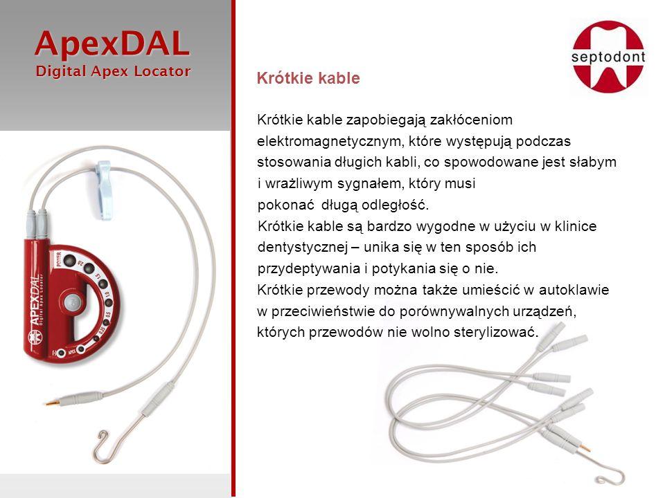 ApexDAL Digital Apex Locator Digital Apex Locator Krótkie kable Krótkie kable zapobiegają zakłóceniom elektromagnetycznym, które występują podczas sto