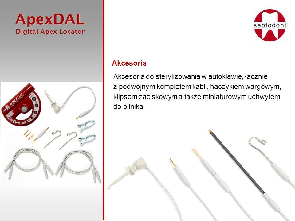 ApexDAL Digital Apex Locator Digital Apex Locator Akcesoria Akcesoria do sterylizowania w autoklawie, łącznie z podwójnym kompletem kabli, haczykiem w