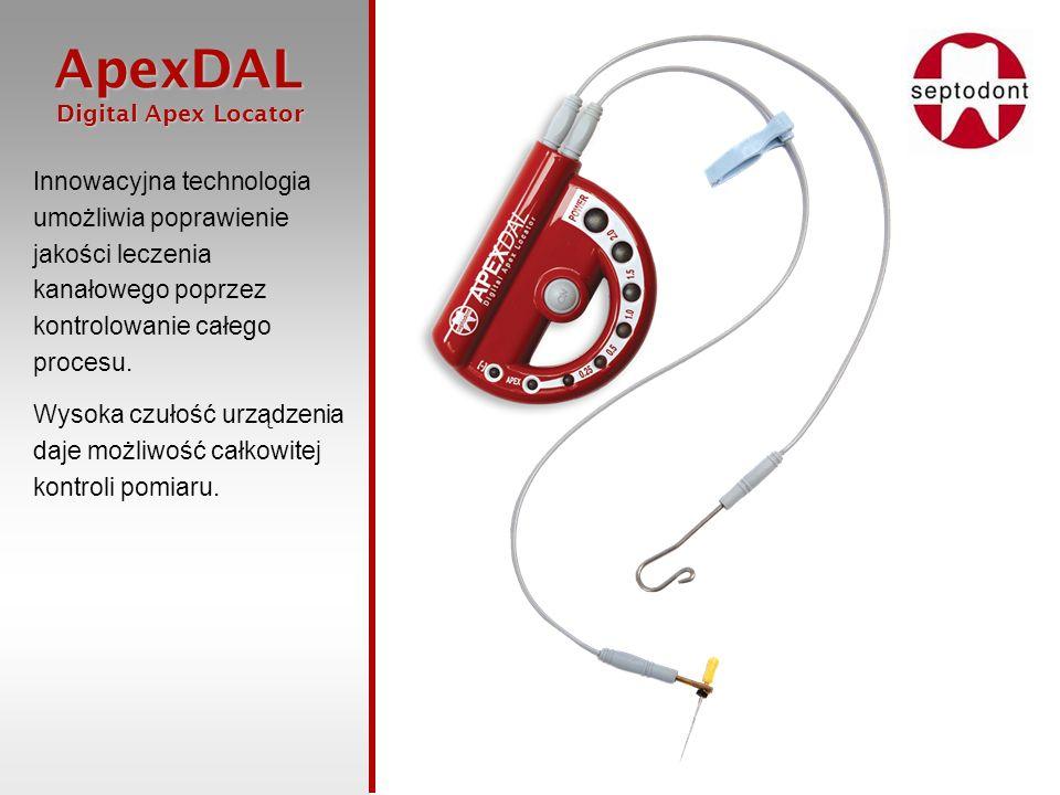 ApexDAL Digital Apex Locator Digital Apex Locator Innowacyjna technologia umożliwia poprawienie jakości leczenia kanałowego poprzez kontrolowanie całe