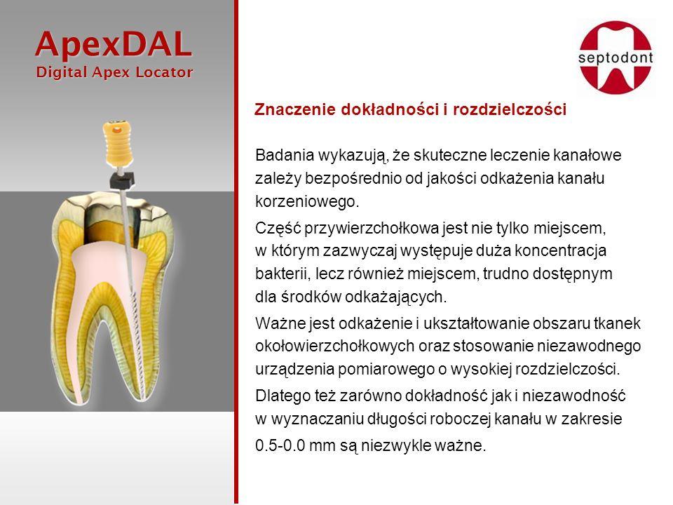 ApexDAL Digital Apex Locator Digital Apex Locator Zagadnienie dokładności i rozdzielczości Korzystanie z Endometru ApexDAL znacznie zwiększa szanse powodzenia leczenia kanałowego, zwłaszcza w porównaniu z działaniem aparatu Roentgena.