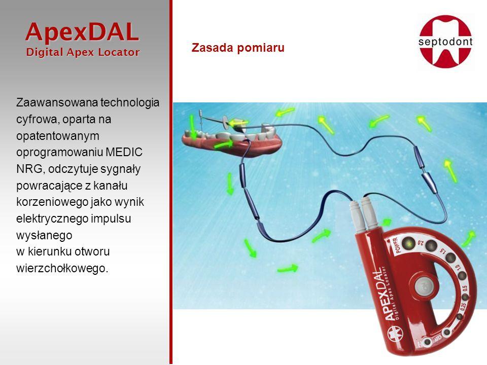 ApexDAL Digital Apex Locator Digital Apex Locator Dwie opcje włączania Urządzenia można włączyć w prosty sposób dotykając pilnik do haczyka wargowego bez konieczności naciskania włącznika.