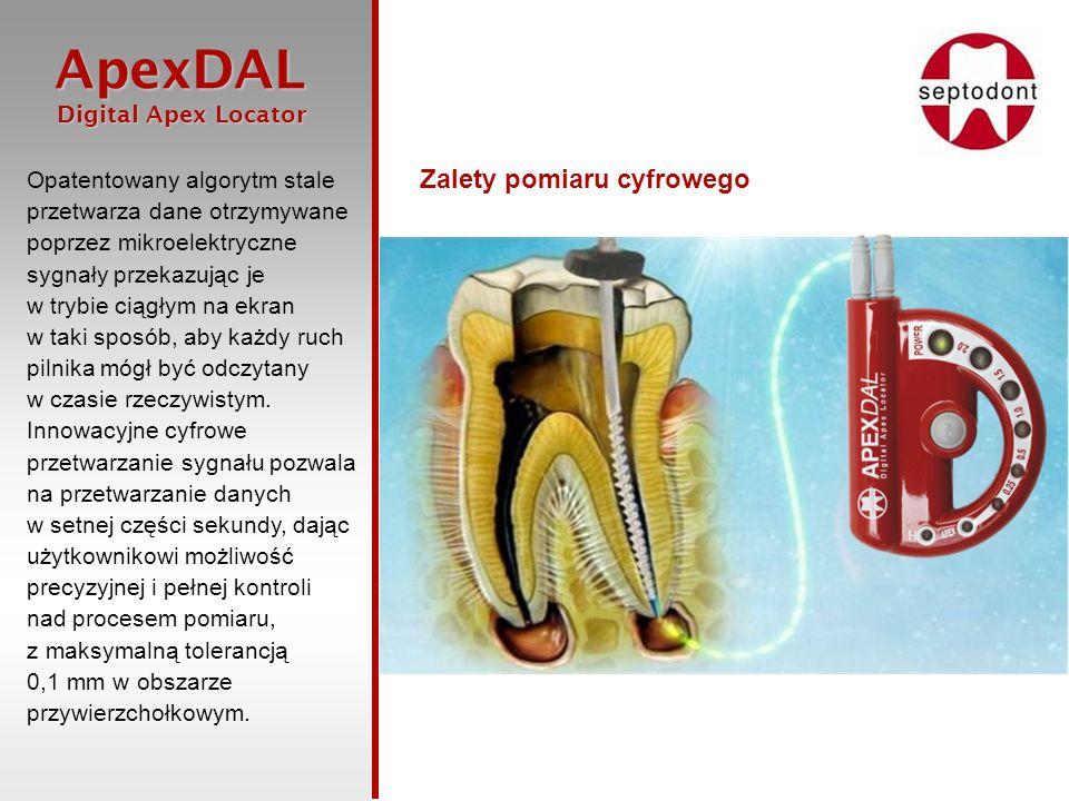 ApexDAL Digital Apex Locator Digital Apex Locator Zagadnienie dokładności i rozdzielczości Zastosowanie technologii cyfrowego przetwarzania danych umożliwia stałe przeliczanie nowych danych otrzymywanych z kanału korzenia zęba.