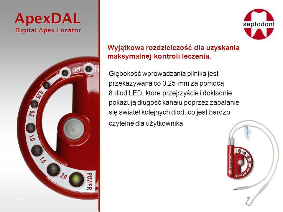 ApexDAL Digital Apex Locator Digital Apex Locator Głębokość wprowadzania pilnika jest przekazywana co 0.25-mm za pomocą 8 diod LED, które przejrzyście