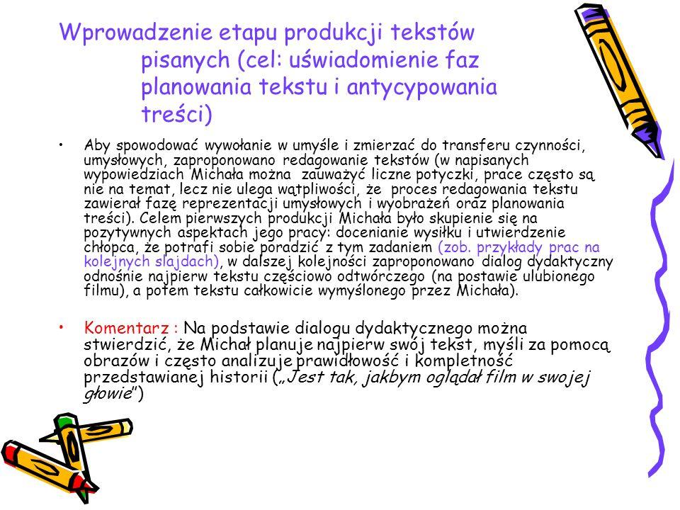 Wprowadzenie etapu produkcji tekstów pisanych (cel: uświadomienie faz planowania tekstu i antycypowania treści) Aby spowodować wywołanie w umyśle i zm