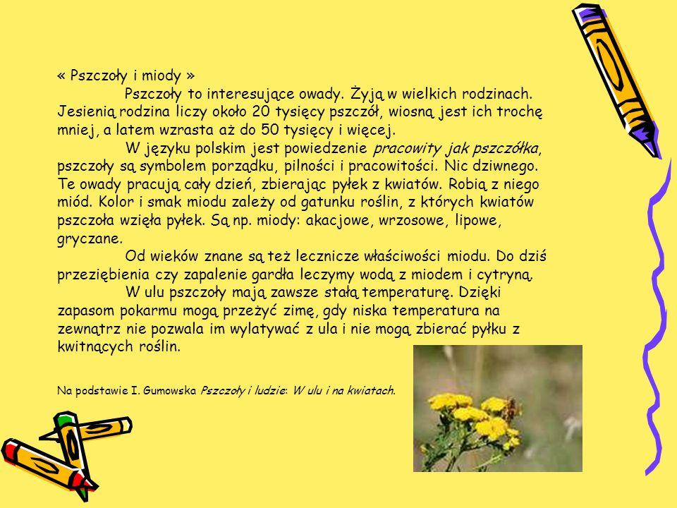 « Pszczoły i miody » Pszczoły to interesujące owady. Żyją w wielkich rodzinach. Jesienią rodzina liczy około 20 tysięcy pszczół, wiosną jest ich troch
