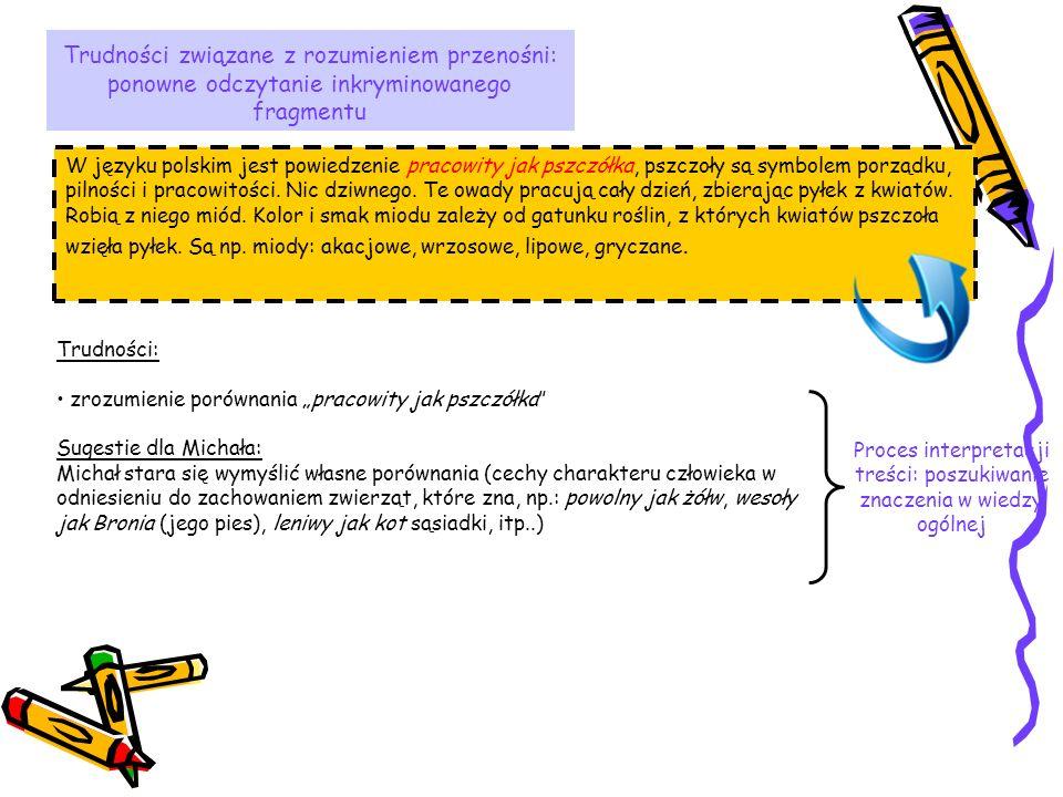 Trudności związane z rozumieniem przenośni: ponowne odczytanie inkryminowanego fragmentu W języku polskim jest powiedzenie pracowity jak pszczółka, ps