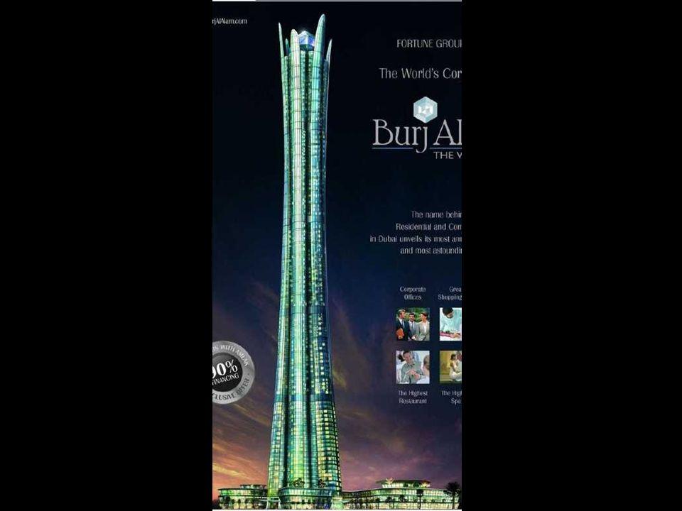 Burj al Alam (The World Tower) Po wybudowaniu bedzie najwyższym hotelem na świecie. Z 480 metrami będzie o 28 metrów niższy od Taipei 101.