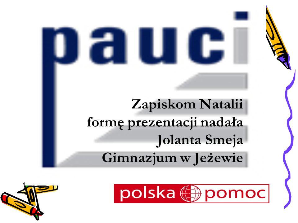Zapiskom Natalii formę prezentacji nadała Jolanta Smeja Gimnazjum w Jeżewie