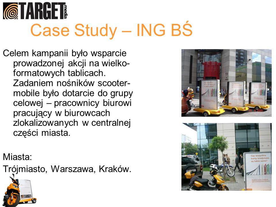 Case Study – ING BŚ Celem kampanii było wsparcie prowadzonej akcji na wielko- formatowych tablicach. Zadaniem nośników scooter- mobile było dotarcie d