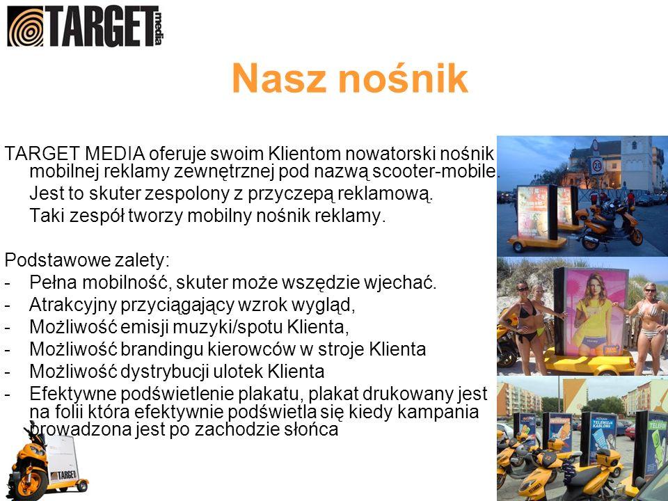 Nasz nośnik TARGET MEDIA oferuje swoim Klientom nowatorski nośnik mobilnej reklamy zewnętrznej pod nazwą scooter-mobile.