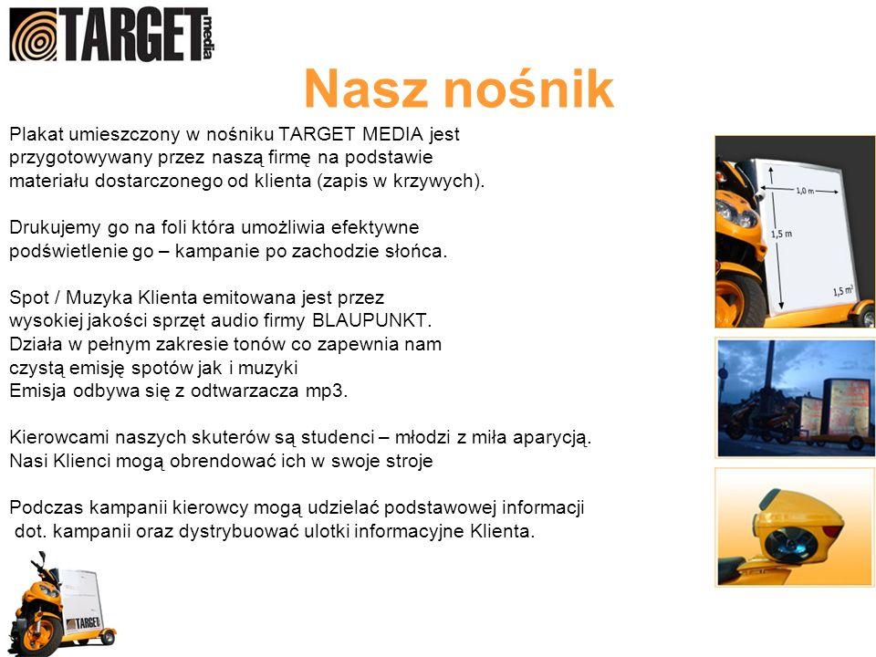 Plakat umieszczony w nośniku TARGET MEDIA jest przygotowywany przez naszą firmę na podstawie materiału dostarczonego od klienta (zapis w krzywych). Dr
