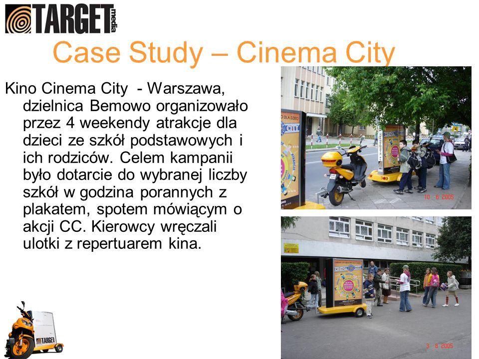 Case Study – Cinema City Kino Cinema City - Warszawa, dzielnica Bemowo organizowało przez 4 weekendy atrakcje dla dzieci ze szkół podstawowych i ich r