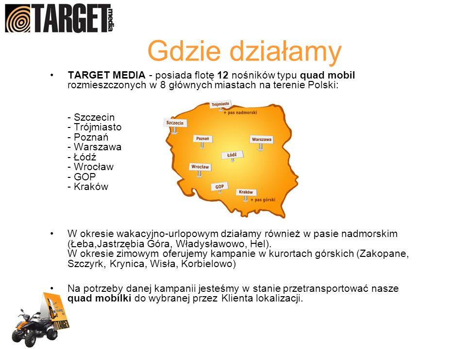 Gdzie działamy TARGET MEDIA - posiada flotę 12 nośników typu quad mobil rozmieszczonych w 8 głównych miastach na terenie Polski: - Szczecin - Trójmias