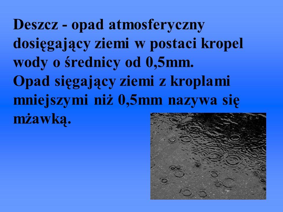 Deszcz - opad atmosferyczny dosięgający ziemi w postaci kropel wody o średnicy od 0,5mm. Opad sięgający ziemi z kroplami mniejszymi niż 0,5mm nazywa s