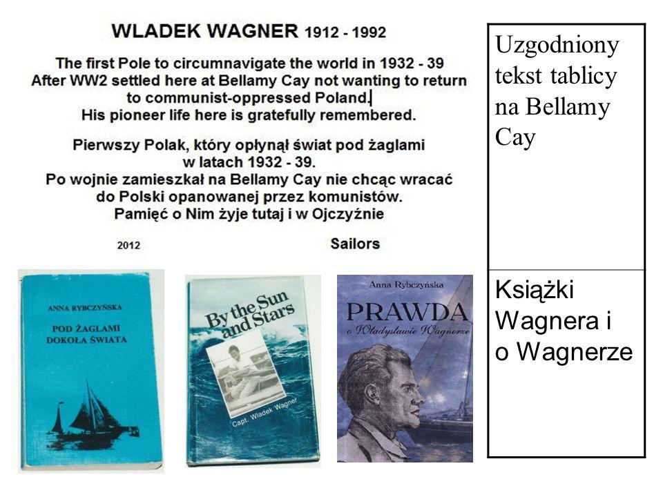 Uzgodniony tekst tablicy na Bellamy Cay Książki Wagnera i o Wagnerze