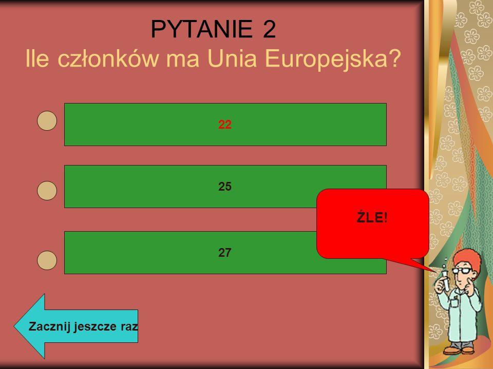 PYTANIE 2 Ile członków ma Unia Europejska? 22 25 27 ŹLE! Zacznij jeszcze raz