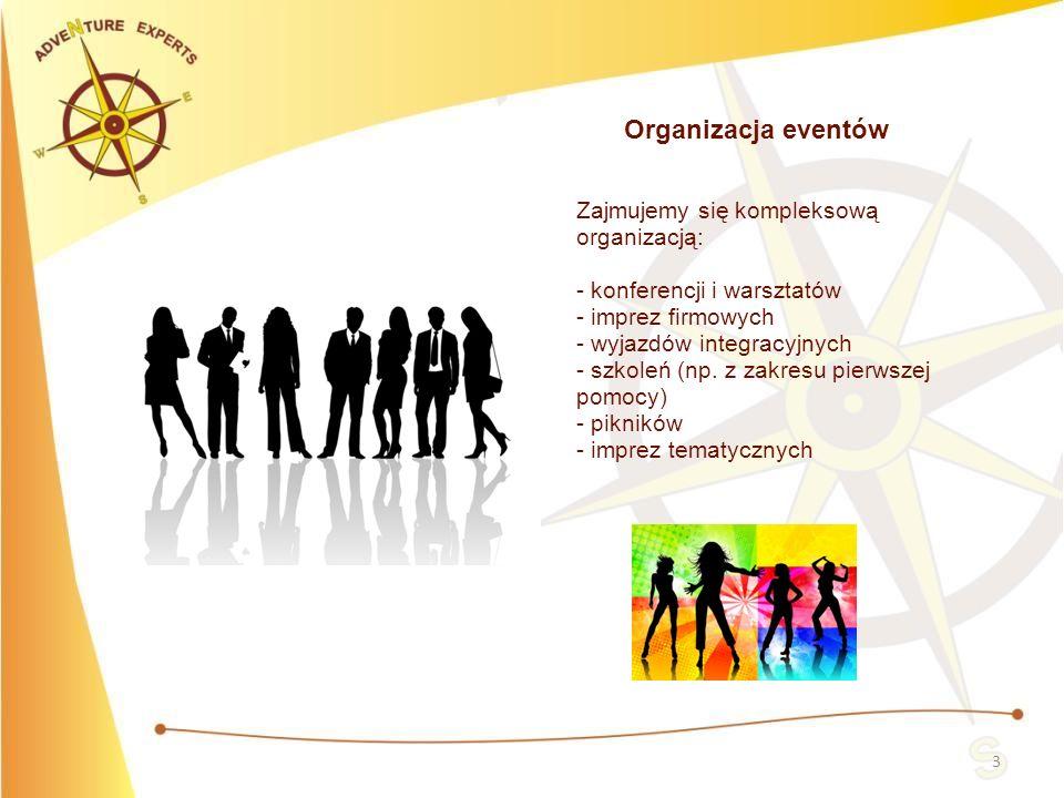 3 Organizacja eventów Zajmujemy się kompleksową organizacją: - konferencji i warsztatów - imprez firmowych - wyjazdów integracyjnych - szkoleń (np. z