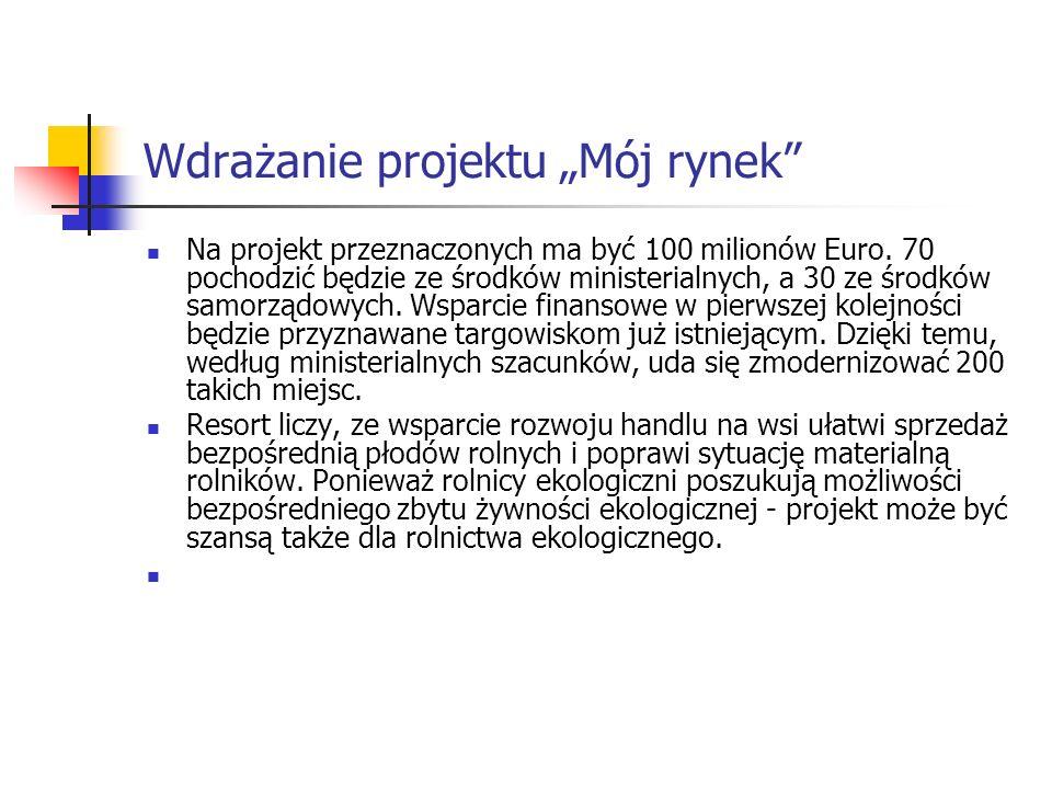 Wdrażanie projektu Mój rynek Na projekt przeznaczonych ma być 100 milionów Euro.