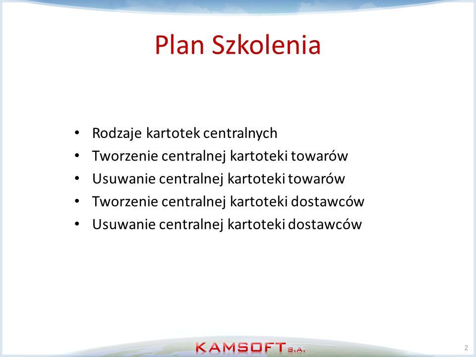Rodzaje kartotek centralnych 3 Towary Dostawcy Pacjenci/odbiorcy Refundatorzy Grupy rabatowe Hurtownie Regiony Grupy Klasy.