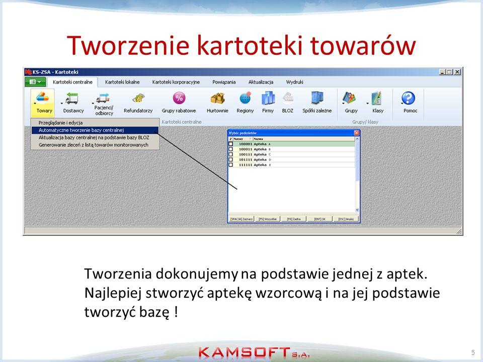 Usuwanie kartoteki towarów 16 KS-ZSA Po kompletnym usunięciu towarów możemy ustawić sekwencje TOWR_ID oraz CTOWR_ID na 1, oraz ustawiamy C22_1007FN: Numeracja CKT z zewnętrznej sekwencji = NIE Pozwoli to na jednolita numerację trzech pól z tabeli TOWR: ID, NRTOW, IDCTOWR.