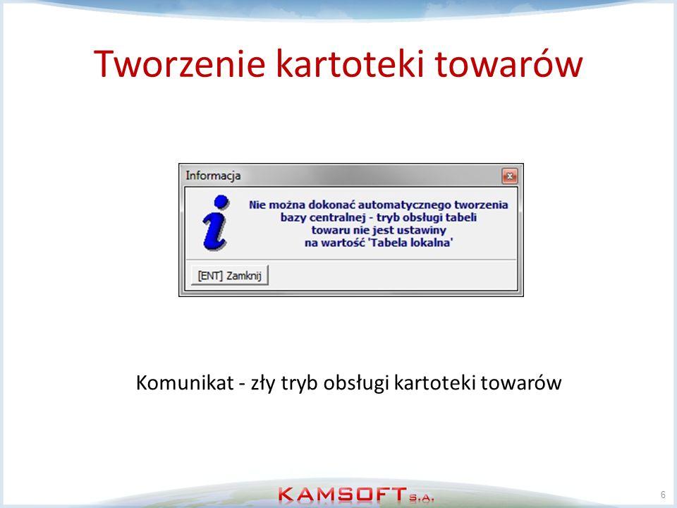 Usuwanie kartoteki towarów 17 KS-AOW Zerujemy parametr D00_1506 (CKT, CKD, CKP) zawierający datę i godzinę ostatniej aktualizacji kartotek centralnych W kartotece towarów TOWR czyścimy pole IDCTOWR Usuwamy zawartość kartoteki centralnej CTOWR Zerujemy parametr N00_1077 - czy zintegrowane są grupy pomiędzy CRM i ZSA Zerujemy parametr N62_1001 - ostatnio zaimportowany numer zmiany dla grup asortymentowych centralnych Usuwamy grupy związane z KS-ZSA z kartoteki GRPP,GRPN gdzie IDSYS=21,lub zamieniamy je na lokalne, w tym celu należy zmienić pole IDSYS z 21 na 11.