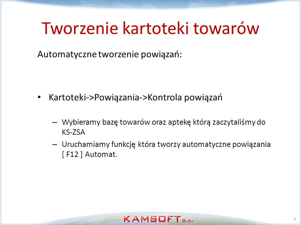 Tworzenie kartoteki dostawców 20 Ręczne tworzenie kartoteki dostawców Kartoteki->Kartoteki centralne->Dostawcy->Przeglądanie i edycja wybieramy funkcję dodaj [F2] wypełniamy pola z danymi dostawcy Wybieramy funkcję zapisz [F2].