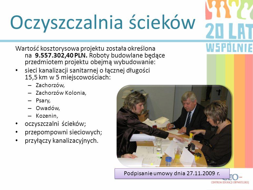 Oczyszczalnia ścieków Wartość kosztorysowa projektu została określona na 9.557.302,40 PLN.