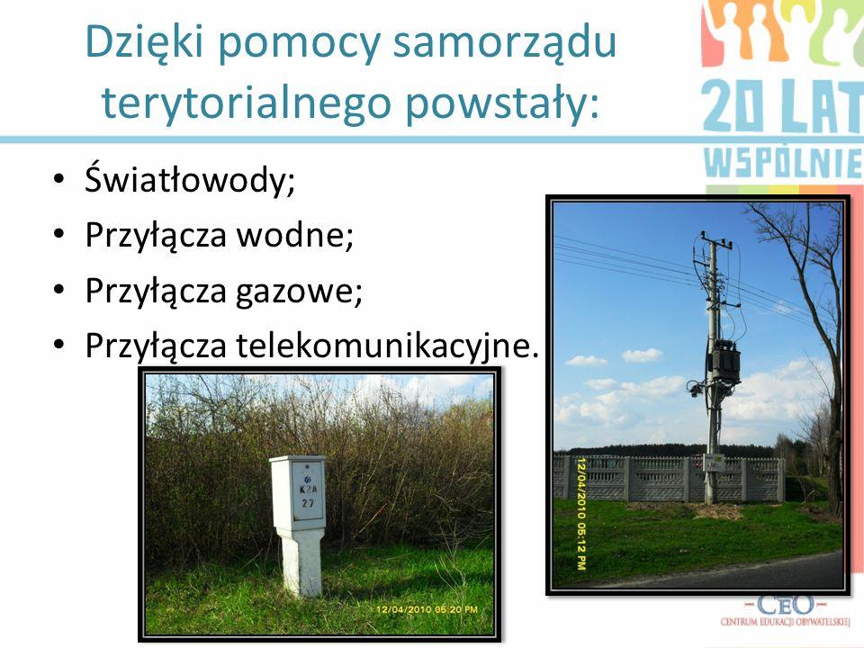Dzięki pomocy samorządu terytorialnego powstały: Światłowody; Przyłącza wodne; Przyłącza gazowe; Przyłącza telekomunikacyjne.