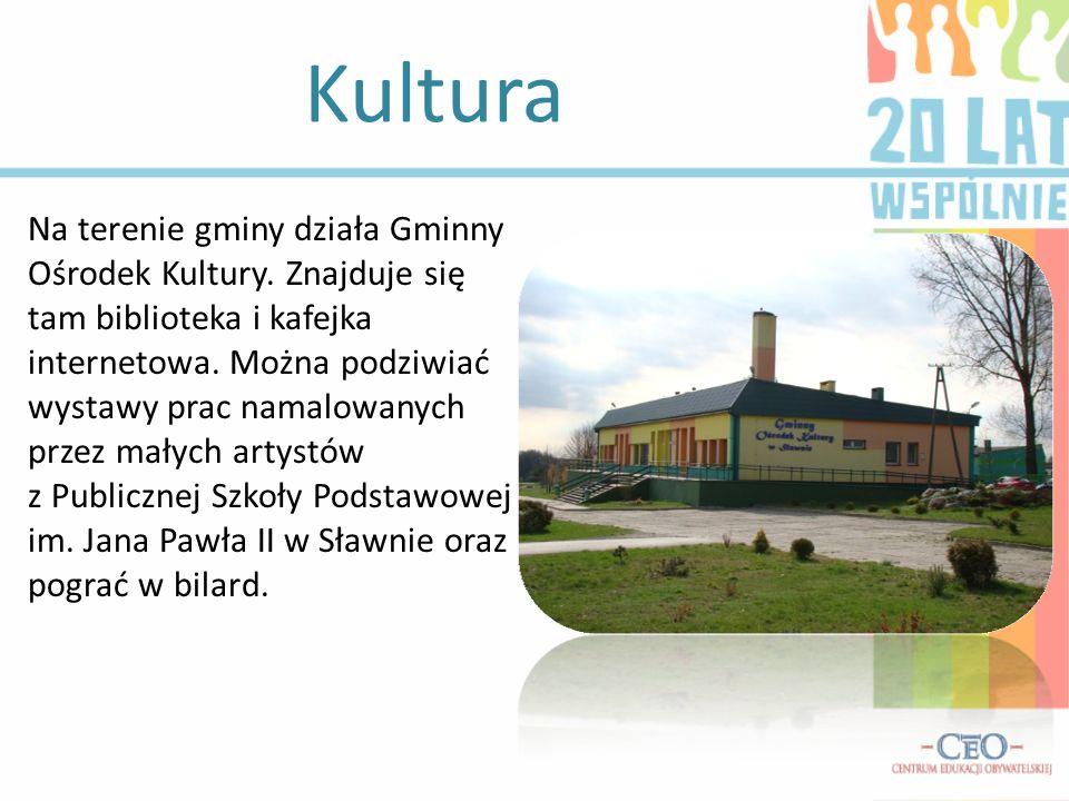 Kultura Na terenie gminy działa Gminny Ośrodek Kultury. Znajduje się tam biblioteka i kafejka internetowa. Można podziwiać wystawy prac namalowanych p