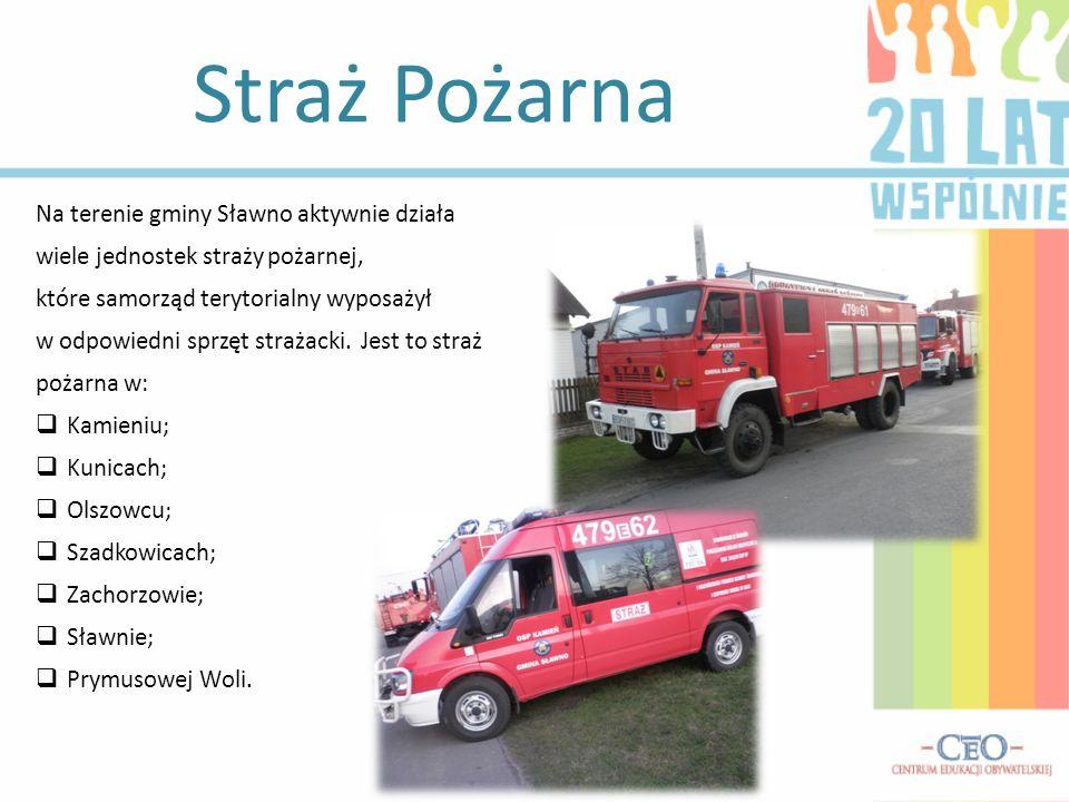 Straż Pożarna Na terenie gminy Sławno aktywnie działa wiele jednostek straży pożarnej, które samorząd terytorialny wyposażył w odpowiedni sprzęt strażacki.